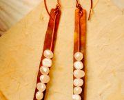 Raw Pearl Brass Earrings - Down Creek Gallery