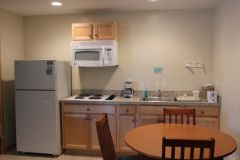 Kitchen area of office-side rooms at Pony Island Motel