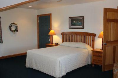 Poolside bedroom at Pony Island Motel