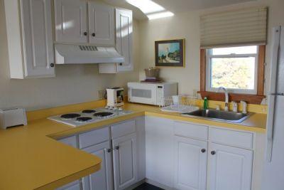 Kitchen of poolside room at Pony Island Motel